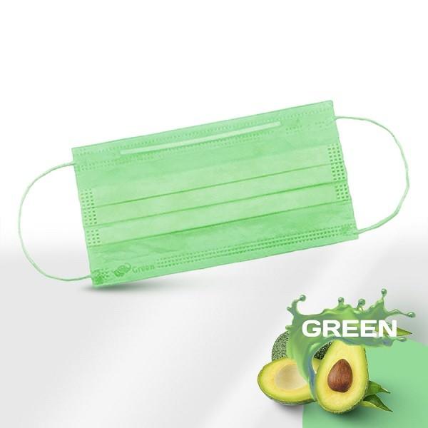 Маски медицинские 3-слойные с носовым фиксатором в п/э зелёные